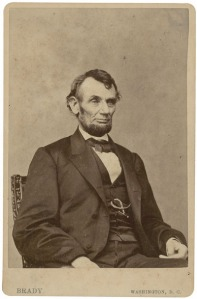 1860s albumen cabinet photograph of Abraham LIncoln by Mathew Brady