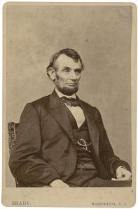 1860s albumen cabinet photograph of Abraham LIncoln by Mathew Brady