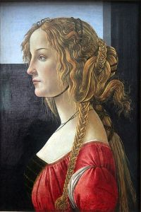 1400s Botticelli tempera painting of a young woman