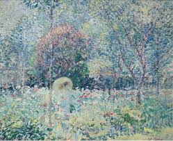 Impressions, such as this 1913 painting The Parasol Karl Albert Buerhr, tried to show how light played on objects and how the human eye natural saw things. We recognize it as a person in a wooded and bushes area.