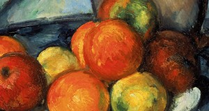 Detail of Paul Cezanne painting of fruit