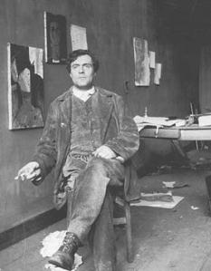 Amedeo Modigliani in his studio