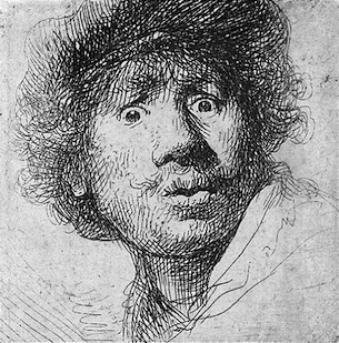 People mentally assemble the lines and marks in this Rembrandt etching into a face