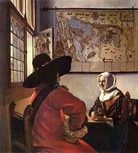 1657 painting by Jan Vermeer. What's the story here?